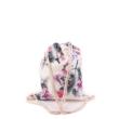 Női divat tornazsák  - Virágmintás, törtfehér hátitáska
