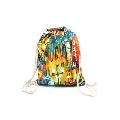 Női-hátizsák-divat-tornazsák-festett-utcakép-vörös-sárga-kék-pakkolj-hu